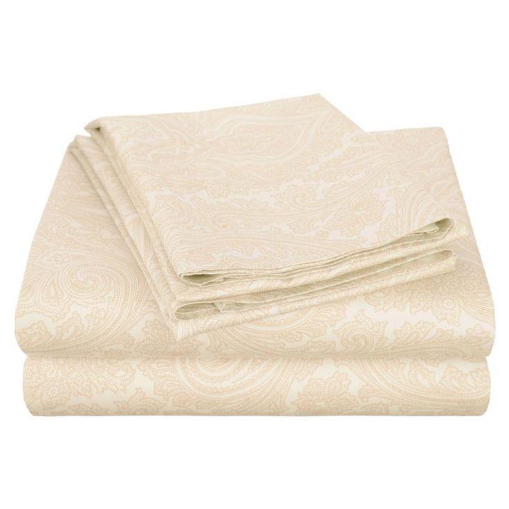 Superior Cotton Rich 600TC Italian Paisley Sheet Set Ivory - CR600KGSH IPIV
