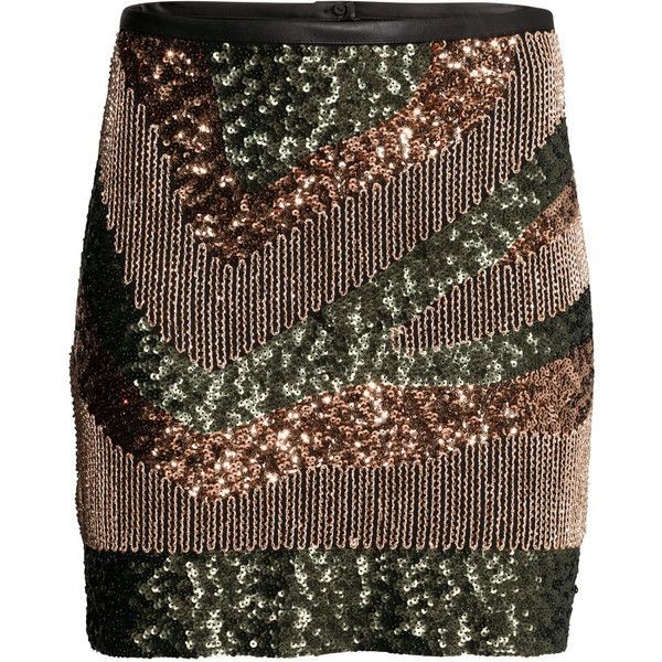 H&M Sequined skirt ($18) ❤ liked on Polyvore featuring skirts, h&m, khaki green, sequin skirt, brown skirt, embroidered skirt, zipper skirt and khaki skirt