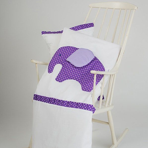 Crib duvet cover - Elephant duvet cover - Purple elephant crib bedding - Cot bed duvet and pillow by CotandCot on Etsy