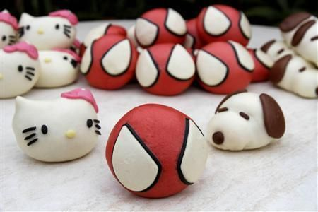 Spider man, Hello Kitty & Snoopy meat buns from Japan