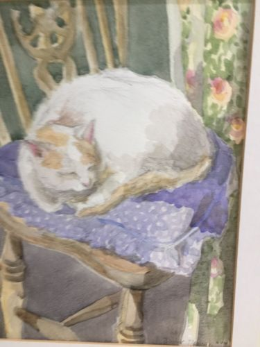LATE-20TH-CENTURY-FRAMED-WATERCOLOUR-OF-A-CAT-ASLEEP-ON-A-CHAIR-by-DAPHNE-MASSEY