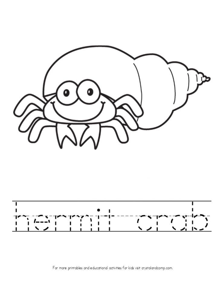 kid color pages hermit crab with handwriting practice for kids