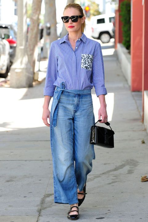 Kate Bosworth in a masculine button down with a femme twist. Where to get the look here.