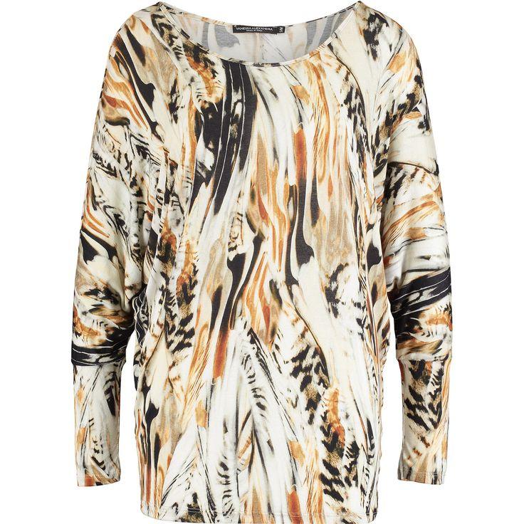 """Vanessa Alexandra "" Tan & White Feather Print Blouse - TK Maxx"