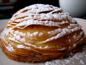 sfogliatella / 'lobster tails' - Naples signature semi-sweet pastry. Being an innately lazy cook, I wonder if bought filo or butter puff pastry would do...at a pinch ...with no Italians around to harshly judge me?? Authentic recipe here: http://www.itchefs-gvci.com/index.php?option=com_content&view=article&id=281&Itemid=633