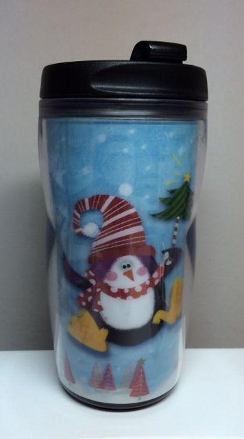 Starbucks (2004) 8oz. Christmas Tumbler (3D HOLOGRAPHIC Penguin Design) #Starbucks