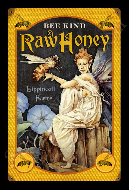 BEE KIND HONEY GARY LIPPINCOTT VINTAGE TIN METAL SIGN FANTASY FAIRY GREAT GIFT | Collectibles, Decorative Collectibles, Signs | eBay!