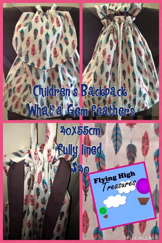 Handmade by Jacqui @ Flying High Treasures  'What a Gem' children's backpack