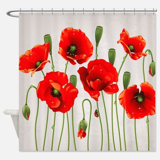 Red California Poppies Shower Curtain For