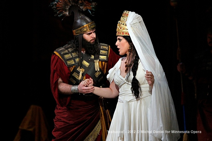 Jon Thomas Olson as Abdallo, a Babylonian officer and Victoria Vargas as Fenena, younger daugher of Nabucco in the Minnesota Opera production of Nabucco.