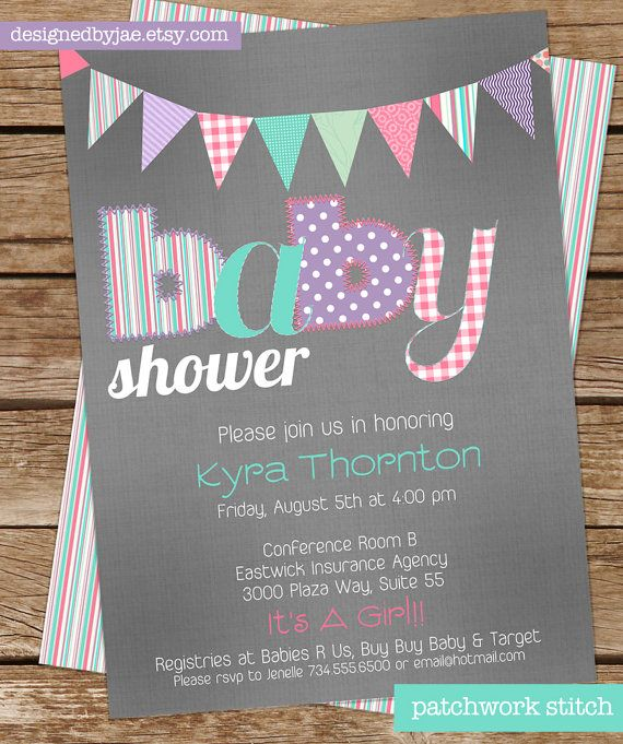 Baby Shower Invitation Girl   Patchwork Stitch   Baby Announcement  Vintage  Pennants, Teal Pink