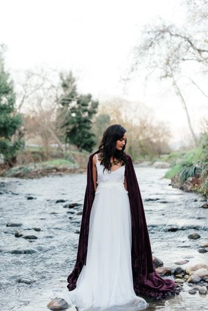 Purple | Red | Gold | Wedding | Moody | Dramatic | Mishka Patel | Spier Wine Farm | Bride | Bouquet | Flower Crown | River | Stream | Water
