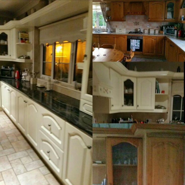 Jmc coatings re sprayed this oak kitchen to ivory stone from colourtrend