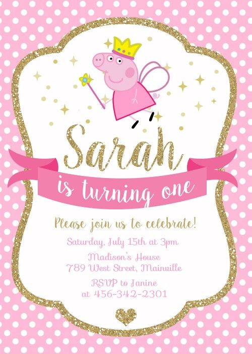 Peppa Pig Princess Birthday Party Invitation - Digital or Printed