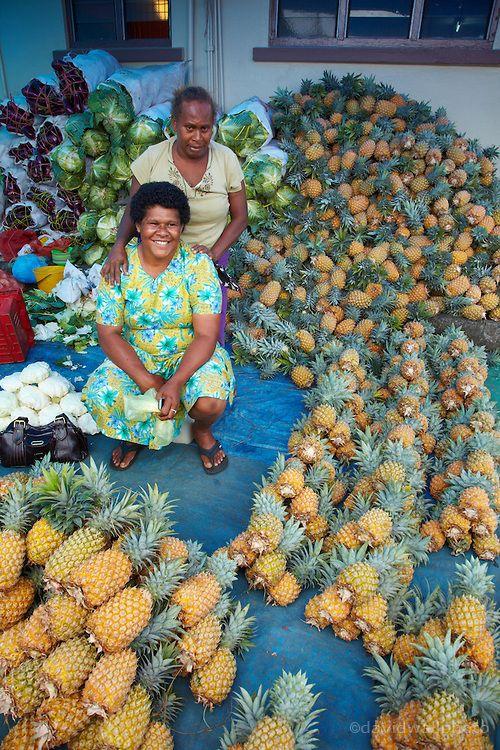 pineapple stall at Suva Municipal Market, Suva, Viti Levu, Fiji. Photo: David Wall