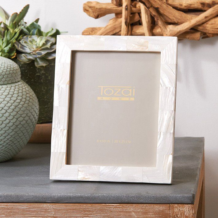 8 x 10 Pearly White Picture Frame design by Tozai - BURKE DECOR $123