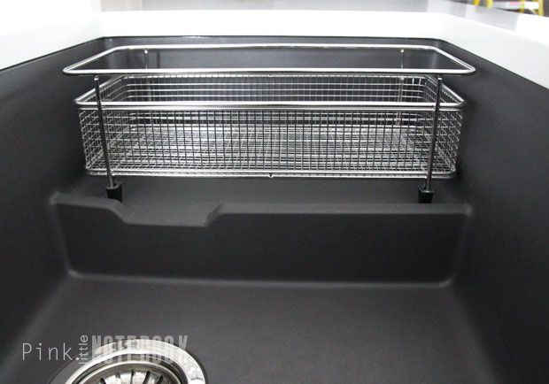 A glimpse of the BLANCO PRECIS CASCADE in cinder, and mesh basket for the convenience of washing and drying