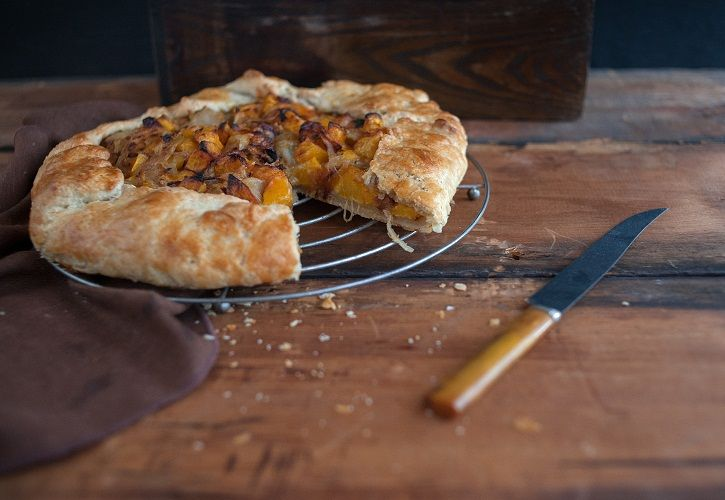 Butternut squash and Caramelized Onion Galette. I can get my bf to eat ...