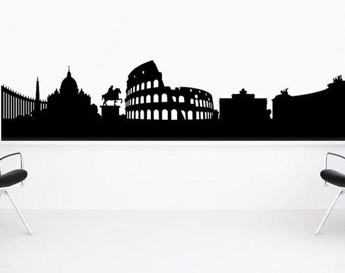 Skyline di Roma, Roma Italia, Roma arte della parete, Skyline decalcomania, Decalcomanie da muro, Roma antica, adesivo, vinile, parete, casa, camera da letto, ufficio, dormitorio Decor