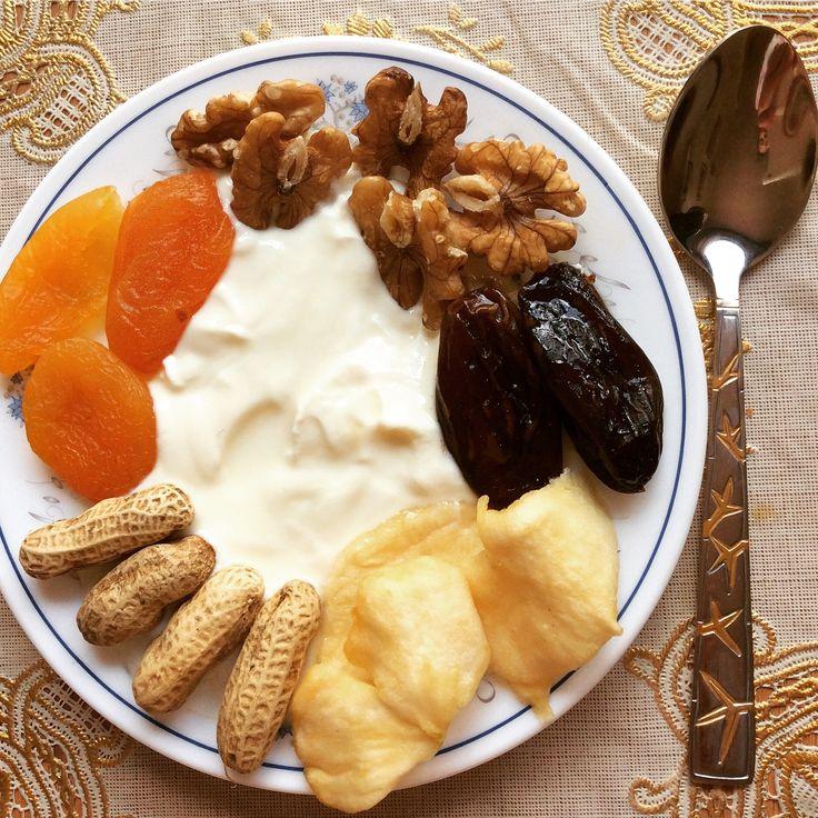 Yogurt Griego con frutos secos! Una merienda bien saludable*