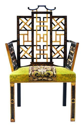 Ann Getty House - OMG! Armchair of western maple finished in highly distressed, raised Chinoiserie over layered oil lacquer finish. Wrapped seat with nailhead trim, gimp or small double welt.