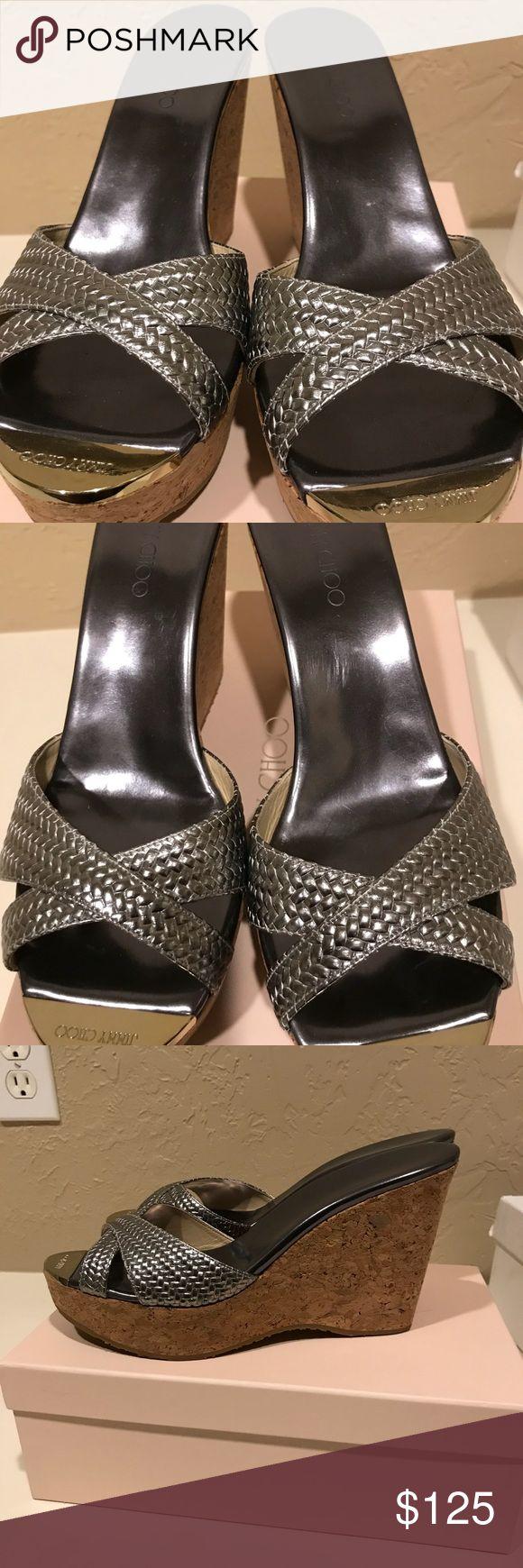 Metallic wedges perfect neutral elegant wedge Jimmy Choo wedge sandals. Worn once Jimmy Choo Shoes Wedges