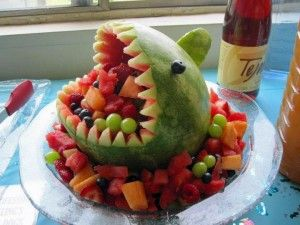 Shark Fruit Salad- I know it's not a cake but I love this idea for the boy's birthdays!!