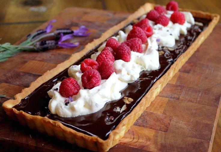 Chocolate tart with berries & lavender cream