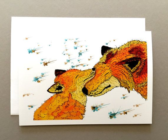 Devoted Foxes Christmas holiday card custom by SusanBerryDesign