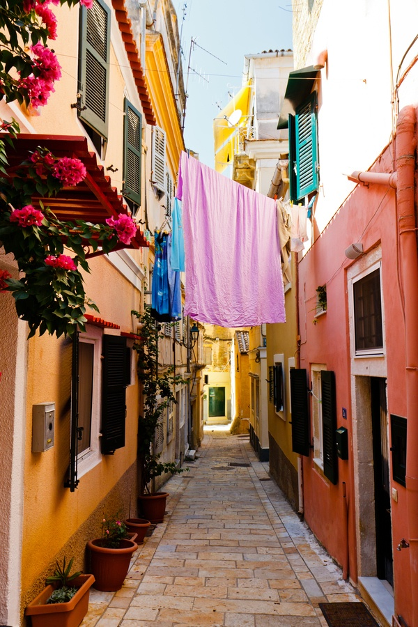 Narrow streets of Corfu, Greece.- been here! Just amazing!
