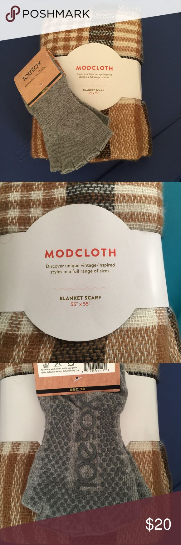 ModCloth scarf and toesox Never opened! From the fabfitfun fall box. ModCloth blanket scarf. As well as, half toe low rise sizes 5-10. ModCloth Accessories