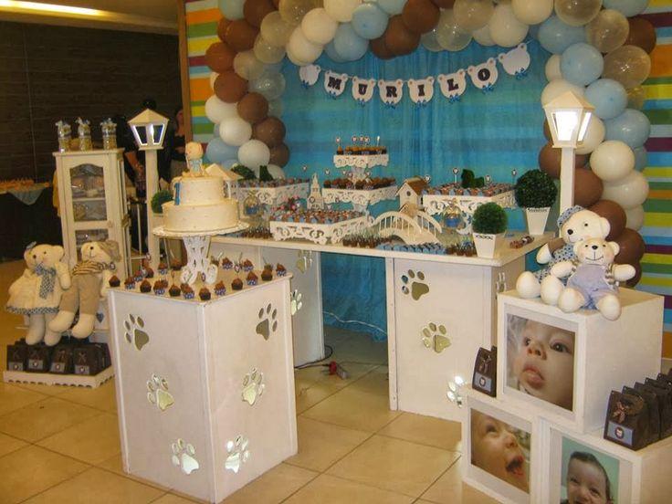 decoracao festa infantil yellow submarine:Festa Infantil Família Ursinho marrom, azul e branco
