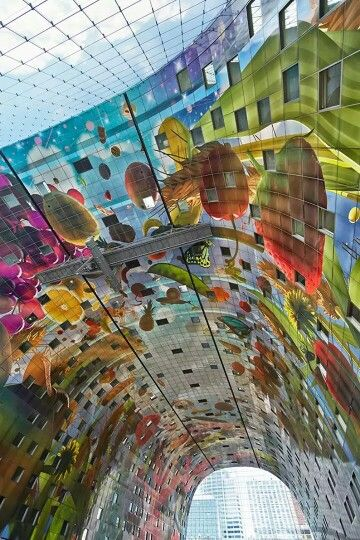 Best De Markthal Images On Pinterest Architecture - Incredible 36000 sq ft mural lines ceiling market hall rotterdam