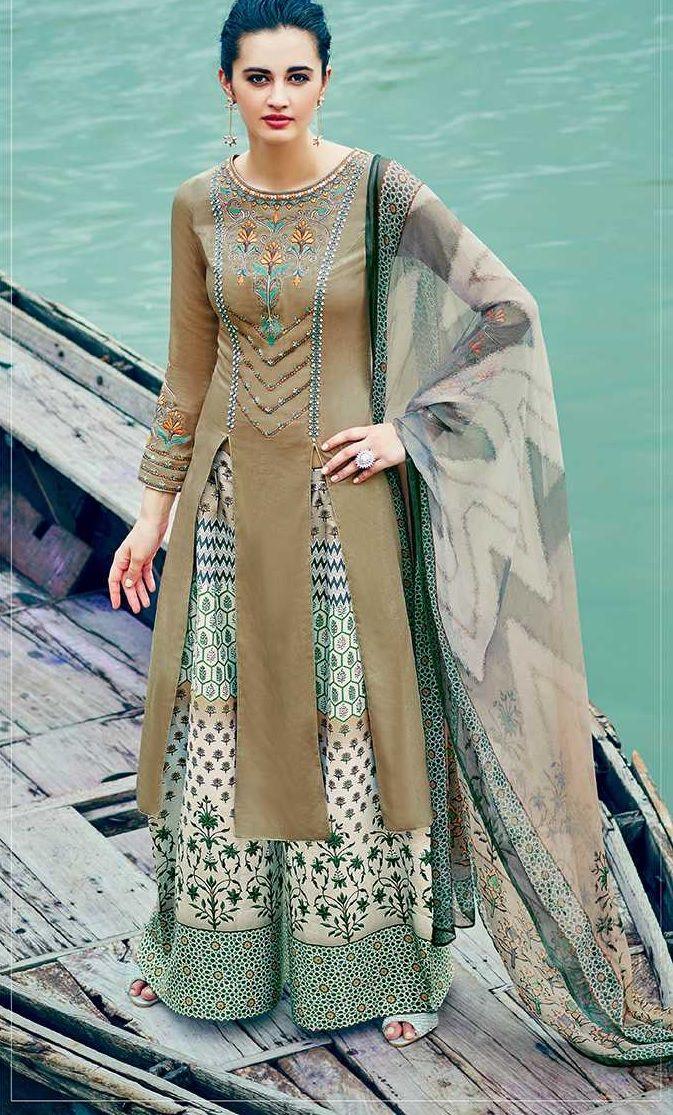 Mehandi color cotton palazzo salwar kameez