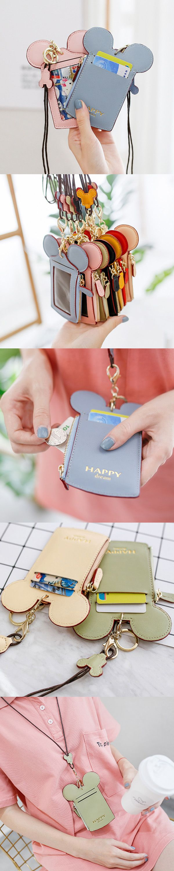 【2 / US$15.98】Women Cute Animal Shape Card Holder Wallet Purse Neck Bag