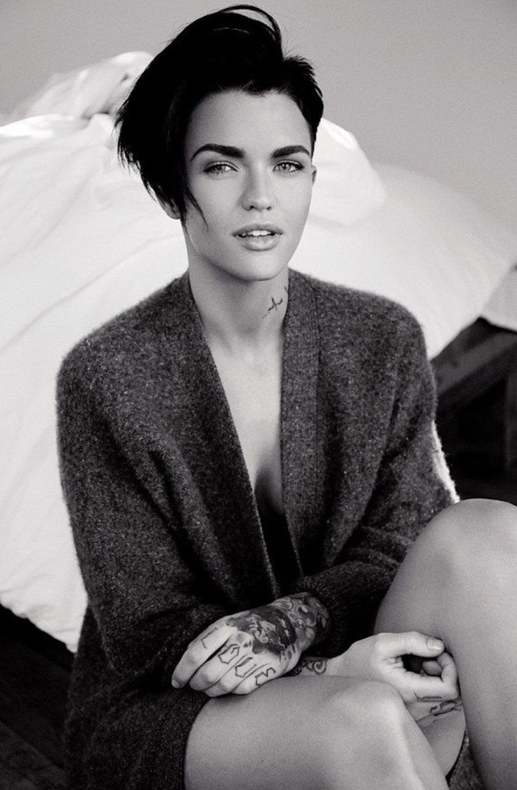 Stripped Back Ruby Rose Looks Striking In Chunky Grey Knit As She Goes Braless And Bare Legged For Stunning Fashion Editorial LOfficiel Italias May