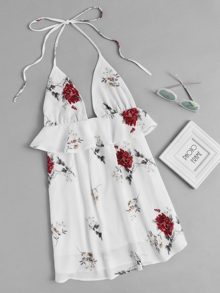 ¡Consigue este tipo de vestido informal de SheIn ahora! Haz clic para ver los detalles. Envíos gratis a toda España. Halter Neck Floral Print Random Frill Trim Dress: Beige Elegant Cute Sexy Polyester Halter Sleeveless Shift Short Ruffle Floral Fabric has no stretch Summer Dresses. (vestido informal, casual, informales, informal, day, kleid casual, vestido informal, robe informelle, vestito informale, día)