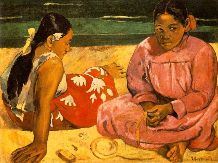 Tahitian Women On the Beach Painting #gaugin #art