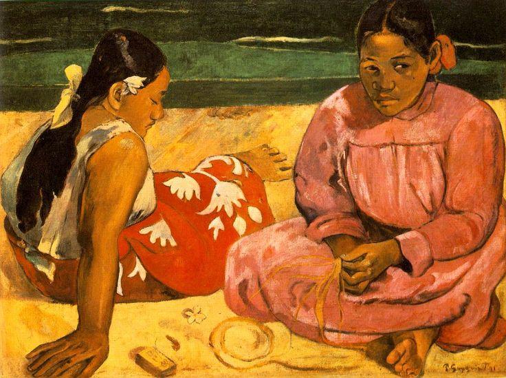 Eugène Henri Paul Gauguin (1848-1903) met het werk Femmes Tahiti is een post impressionist. Was succesvolle beurshandelaar maar stortte zich uiteindelijk op de schilderkunst. Na een periode in Parijs, Arles en Bretagne gewerkt te hebben, ging hij naar Tahiti waar hij vrouwen in prachtige kleuren schilderde. Dit zijn zijn bekendste werken. Ik zie in dit werk kwetsbaarheid en verslagenheid.