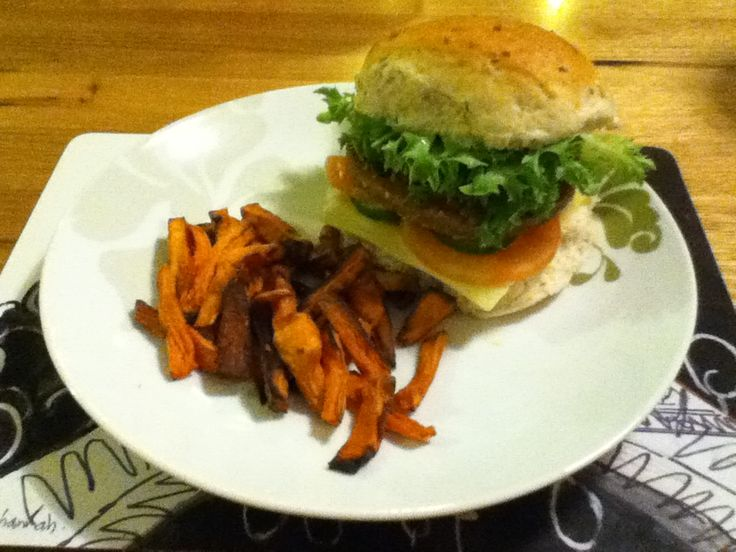 Vegetarian delight burger with homemade sweet potato chips.... #food ...