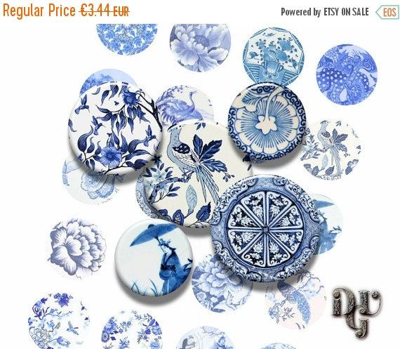 35% OFF SALE Asian Blue Porcellain digital by DreamUpGraphic