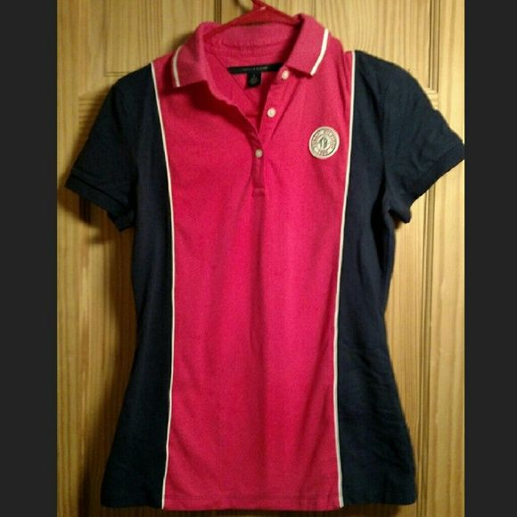 Tommy Hilfiger polo tshirt Hot pink and dark blue. Never worn. Tommy Hilfiger Tops