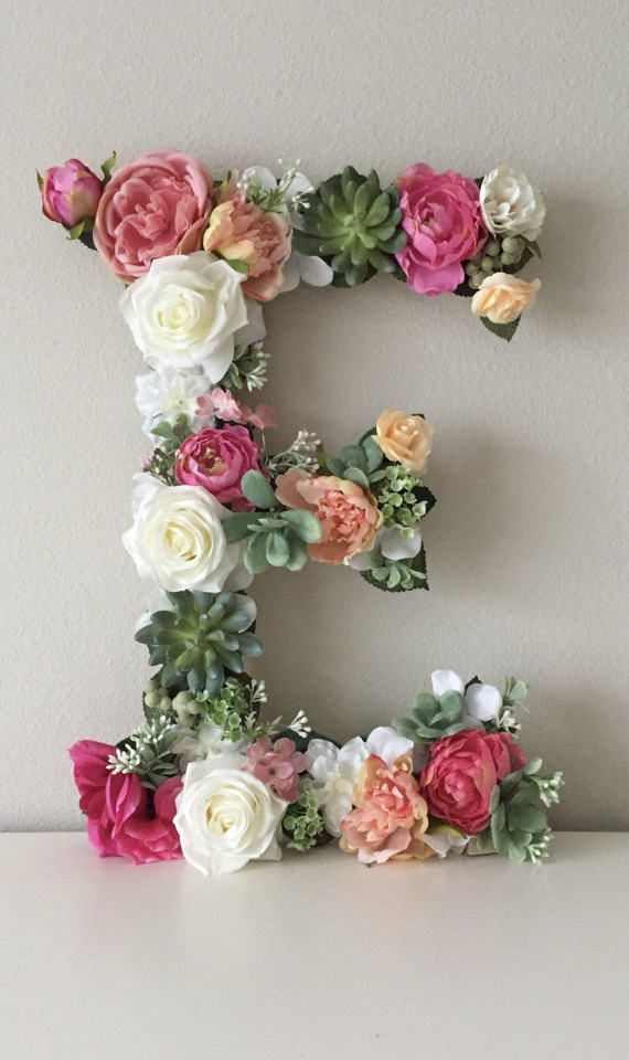 "Wood Floral Letter 19 ""24"", Custom Flower Letter, Wedding Letter, Nursery Letter, Baby Letter, Nursery Art, Baby Shower Gift, Shower Decor"
