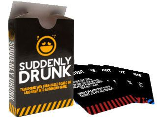 Suddenly Drunk is a set of 54 cards which can easily be added to any turn-based board or card game that transforms it into a hilarious drinking game for 3 – 6+