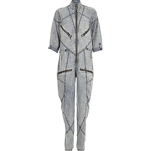 Blue Design Forum acid wash seamed jumpsuit