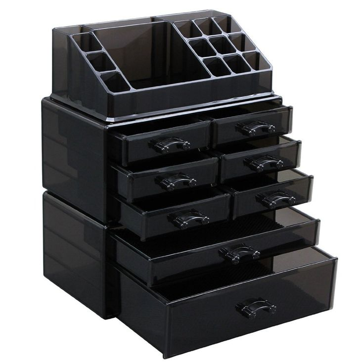 TAWNY MAKEUP ORGANIZER - Durable tawny cosmetic organizer, unique for its color, matching any decor in your room - VARIOUS COMPARTMENT SIZES - 8 different-depth drawers and 16 multi-size sections, giv