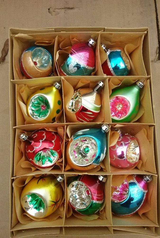 12 Vintage Indent Mercury Glass Christmas Ornaments As Shown Ebay Vintage Christmas Ornaments Antique Christmas Ornaments Mercury Glass Christmas Ornaments