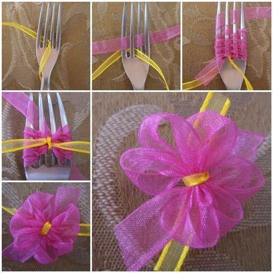 DIY Double Ribbon Bow with a Fork #DIY #craft