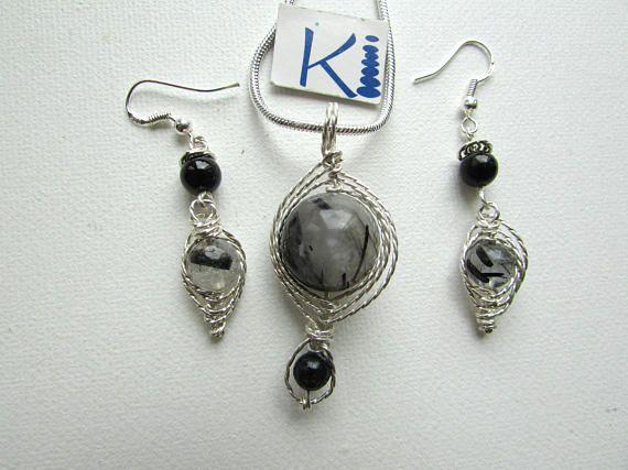 Tourmilated Quartz Pendant and or Earrings Tourmalinated