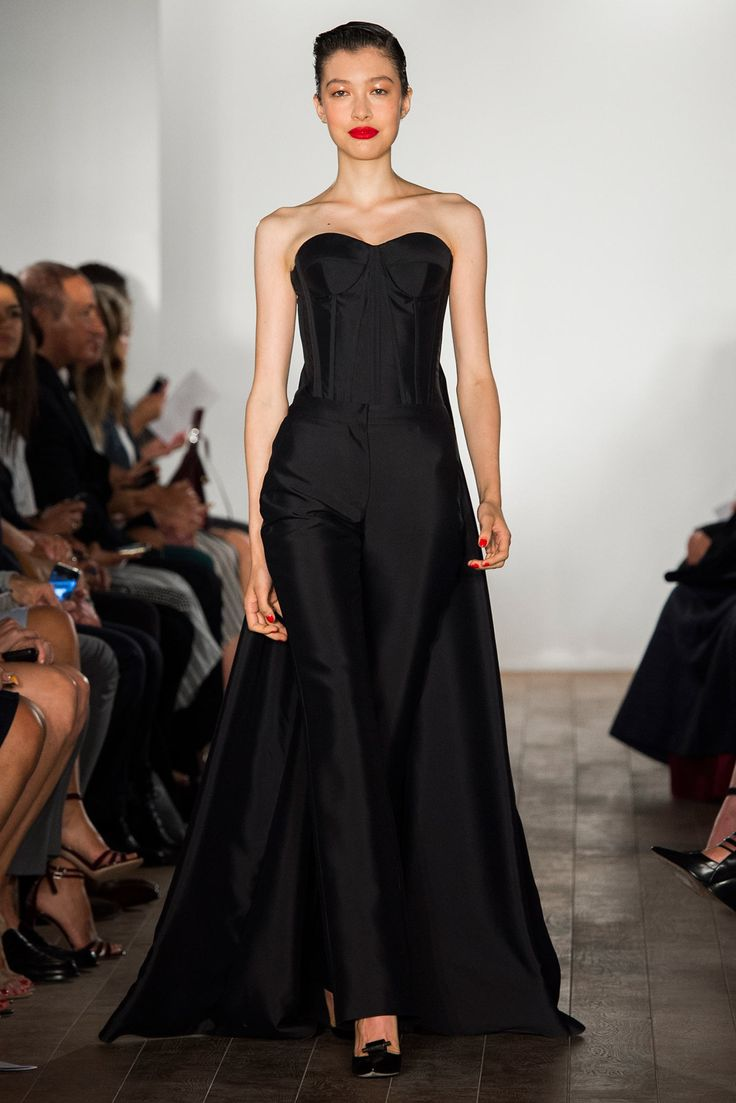 Zac Posen | Spring 2015 Ready-to-Wear | 18 Black strapless top with long train and black trousers